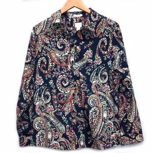 Chico's Navy Blue Paisley No Iron Button Down 2
